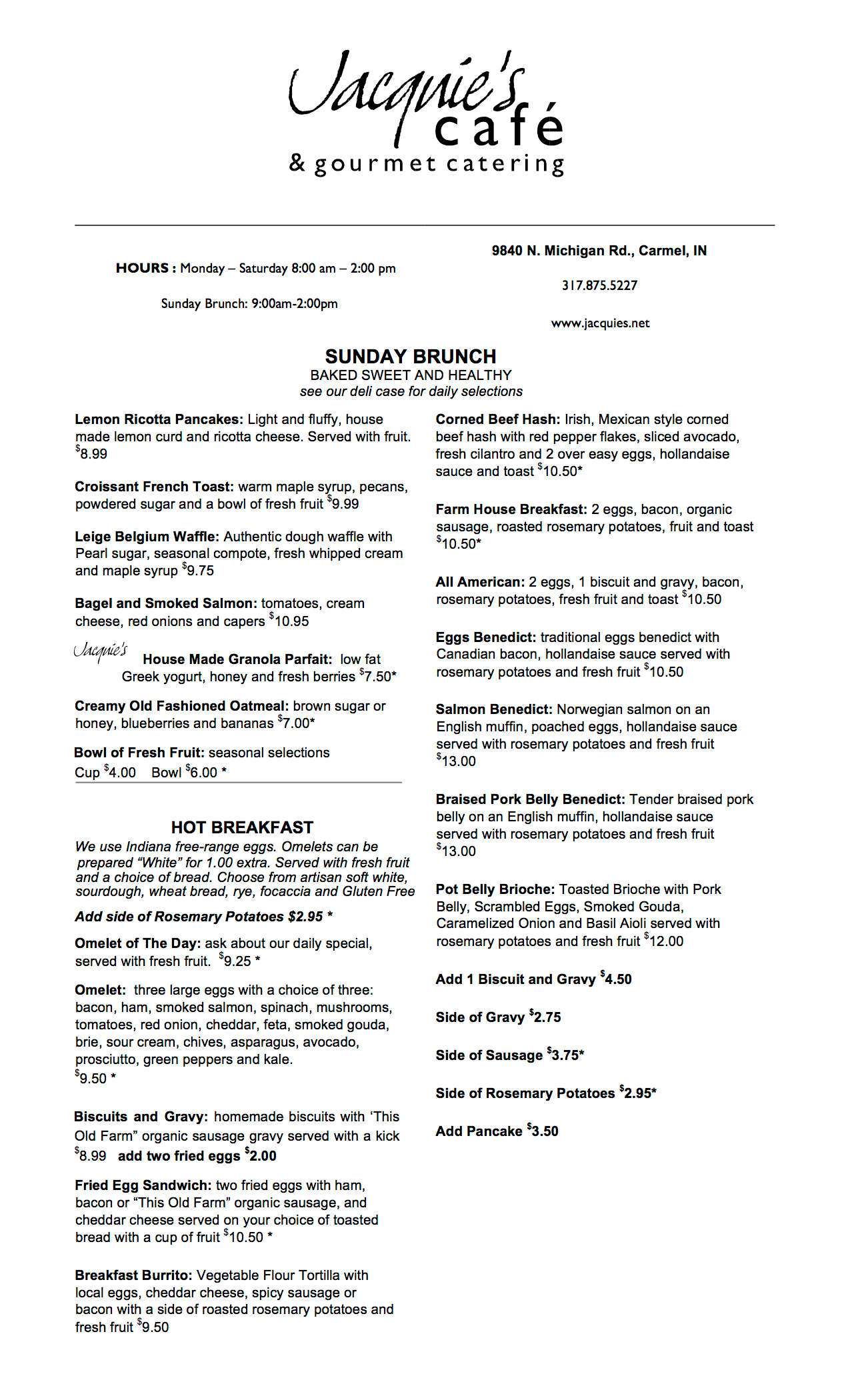 indianapolis cafe brunch menu